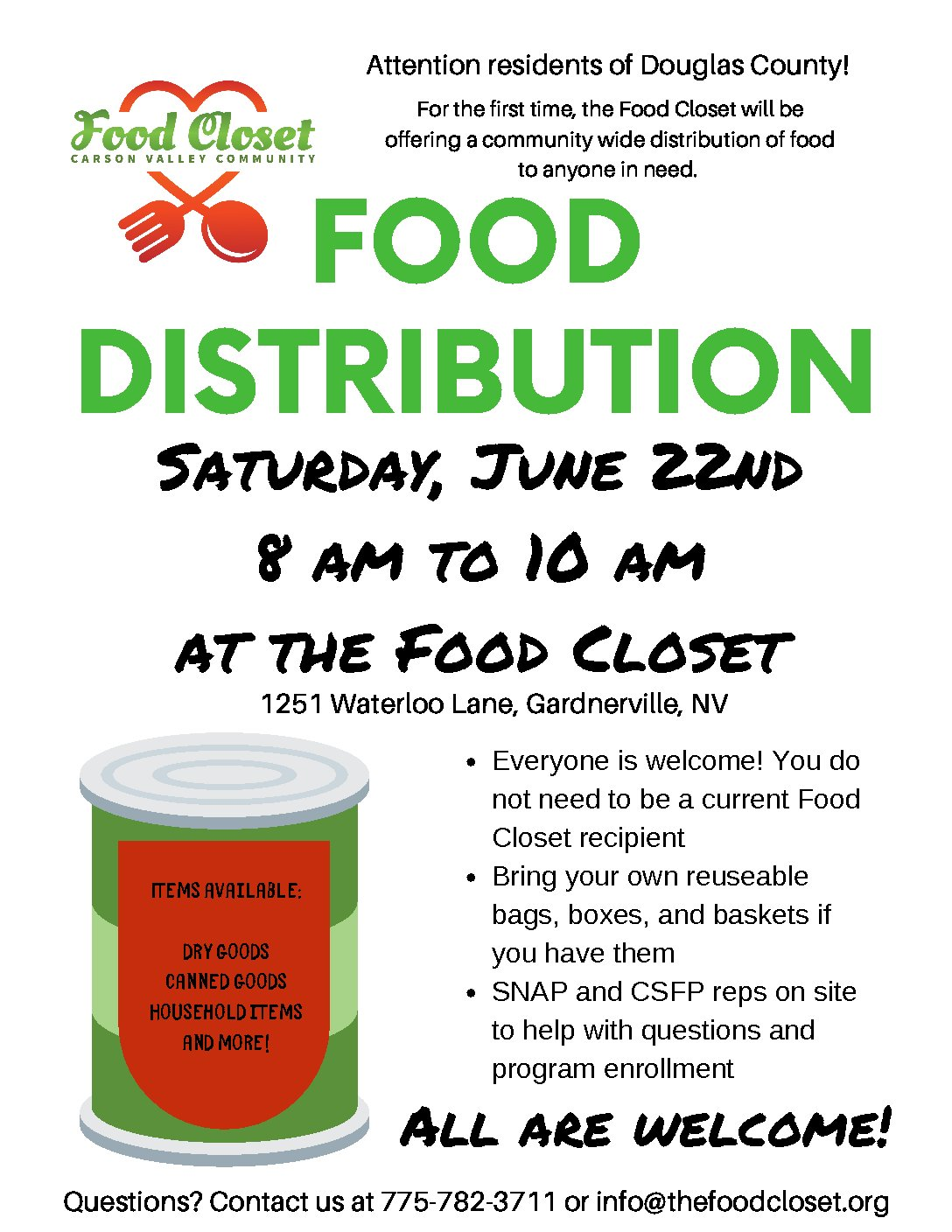 Carson Valley Community Food Closet: Food Distribution - Partnership