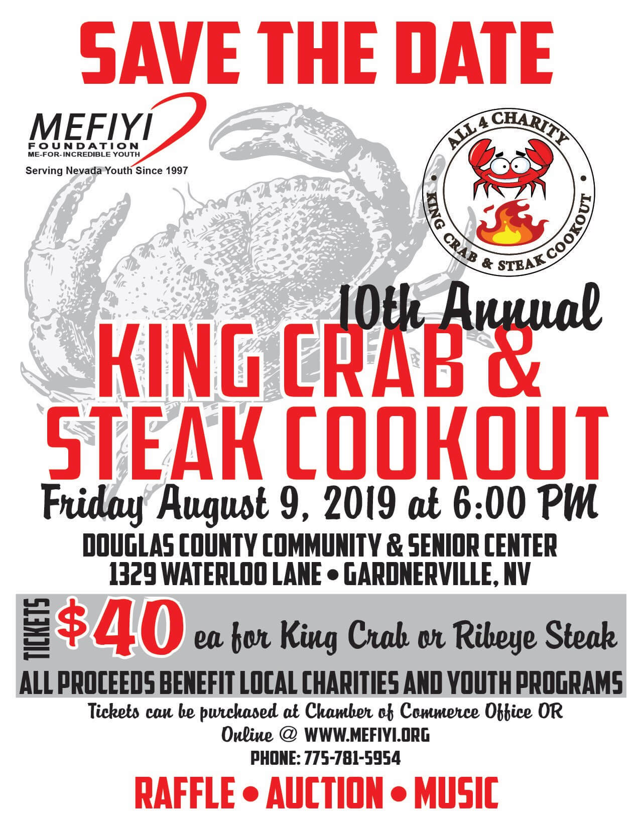 King Crab and Steak Cookout. August 9, 2019 at 6:00 pm. Email team@mefiyi.org