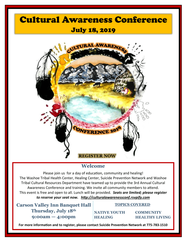 Cultural Awareness Conference July 18, 2019. Call (775) 783-1510